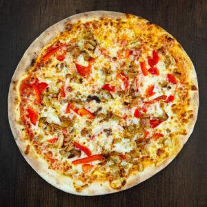 Čerstvá pizza Diavola z kvalitních surovin: italské těsto, tomato, mozzarella, kuřecí maso, papriky, chilly.   Pizza NuPoo Malešice
